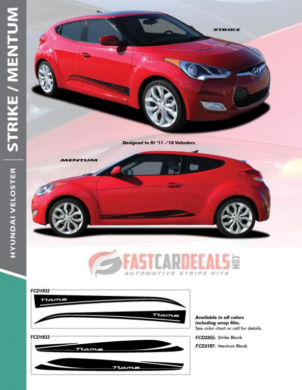 2011-2018 Hyundai Veloster STRIKE & MENTUM Stripes