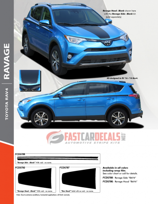 2016-2018 Toyota Rav4 RAVAGE Hood & Side Stripes