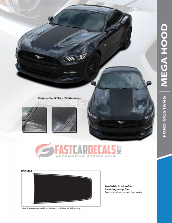 2015-2017 Ford Mustang MEGA HOOD Stripes