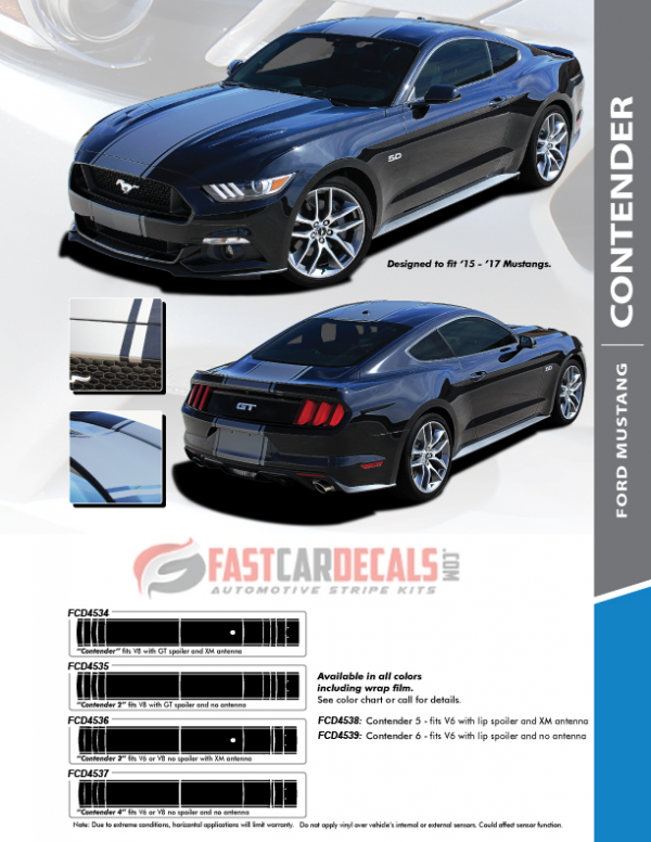 2015-2017 Ford Mustang CONTENDER Stripes
