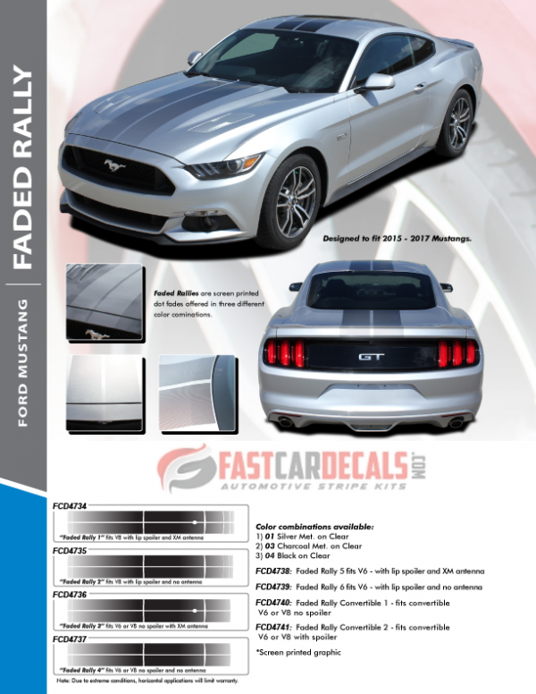 2015-2017 Ford Mustang FADED RALLY Stripes