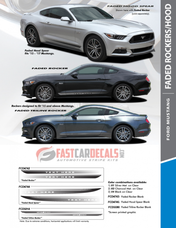 2015-2017 Ford Mustang FADED ROCKER & HOOD Stripes