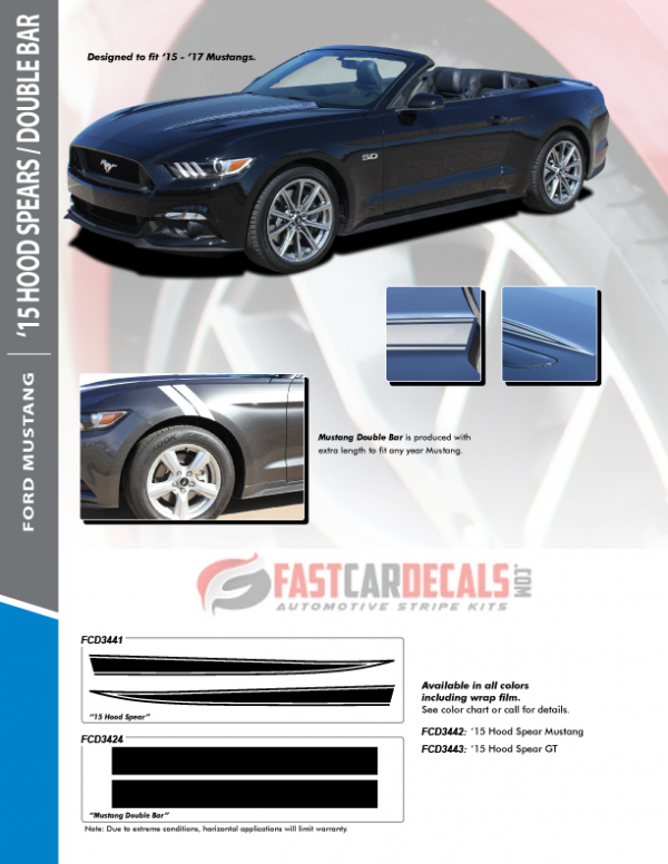 2015-2017 Ford Mustang Hood & Fender Stripes