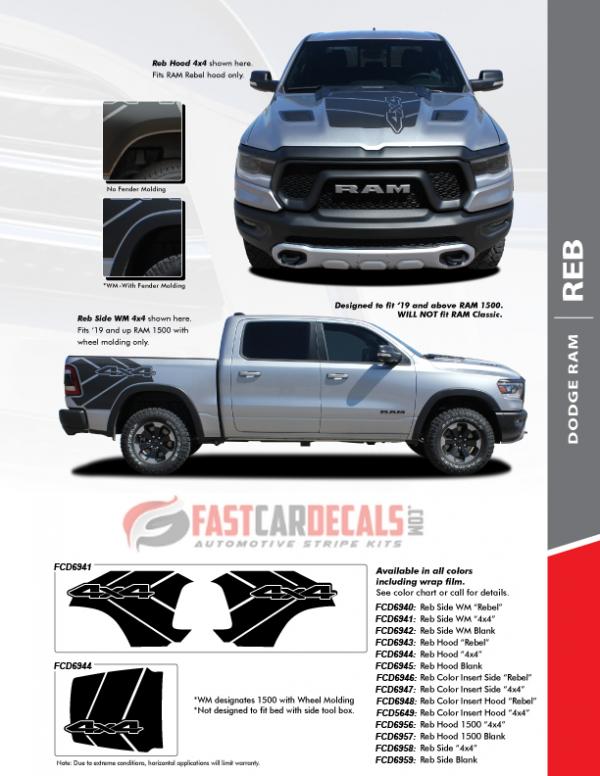 2020 Ram 1500 Truck Rebel Hood Stripes REB SIDE  2019 2020 2021