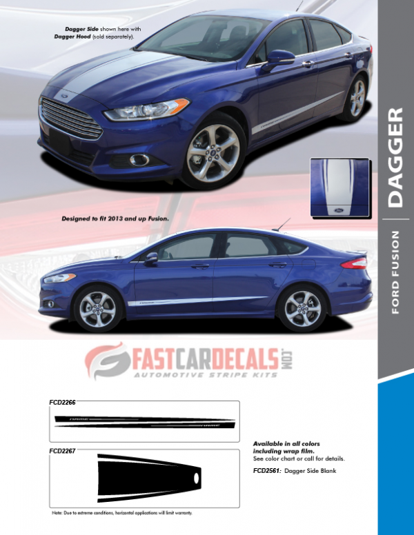 2013-2018 Ford Fusion DAGGER Hood & Side Stripes