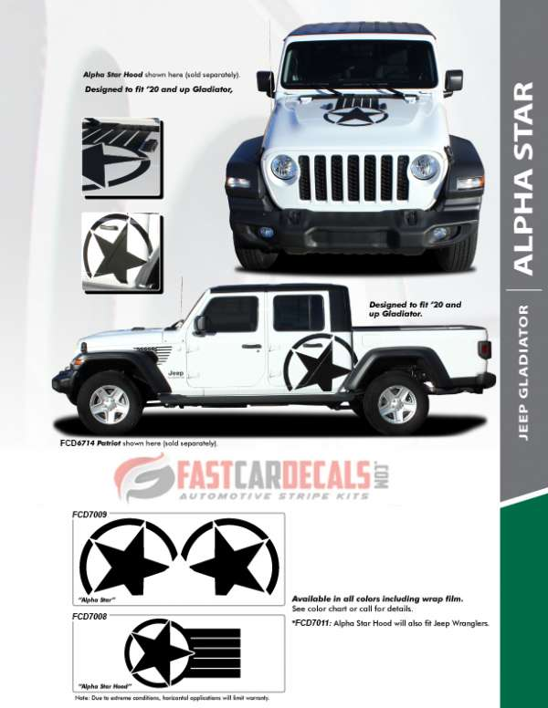 ALPHA STAR HOOD : 2020 Jeep Gladiator Hood Stripes Kit 2020-2021